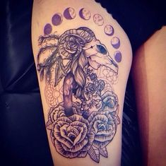 Girl ram skull thigh tattoo!