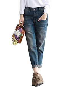 Women's Casual Loose Distressed Baggy Harem Denim Jeans Cropped Pants - As Picture - Clothing, Jumpsuits, Rompers & Overalls Harem Jeans, Denim Jeans, Mom Jeans, Loose Jeans, Cropped Jeans, Flannel Lined Jeans, Jeans And Sneakers, Jogger Pants, Adidas Pants