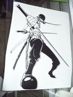 Eto ang favorite character ni Koi (my wifey) sa One Piece.. :) Anime One Piece Vinyl Wall Decal Zoro by vinyledgedesigns on Etsy