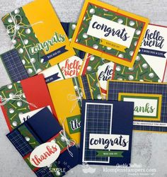 Ready for a fun fold one sheet wonder? These are perfect cards for men BUT I've also got examples for the ladies to share with you. Fun Fold Cards, Quick Cards, Folded Cards, Card Making Tutorials, Making Ideas, Golf Cards, Create A Critter, One Sheet Wonder, Congratulations Card