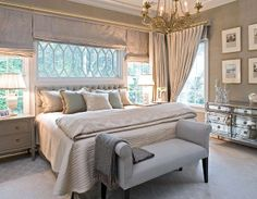 Muted ivory and pale blues creates a soothing palette in this stunning room, Sherill Canet
