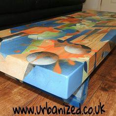 "The artist has beautifully incorporated the woods natural grain into the design of our ""Abrstract"" range coffee table. Www.urbanized.co.uk #graffiti #graffitart #urbanart #streetart #urban  #furniture #upcycle #abstract #abstractart by urbanized.co.uk"