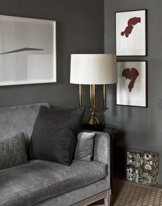 canape de couleur gris anthracite, canape gris coussins gris