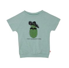 Noé & Zoë SS 16 - Short sweater in mint with avocado http://www.noe-zoe.com/Collections/SS-16/