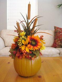 Thanksgiving Centerpiece, Thanksgiving Decorations, Pumpkin Floral Arrangement, Fall Table Arrangement. $45.00, via Etsy.