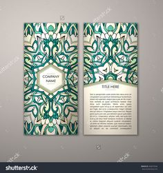 Flyer Template With Abstract Ornament Pattern. Vector Greeting Card Design. Front Page And Back Page. - 465074546 : Shutterstock