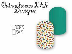 Outracheous custom Jamberry Nail art studio design leaves fall