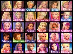 Not all of them, it stops at The Pink Shoes, but after that its Mariposa, Catania, Barbie, Lumina, Alexa, Kara, Courtney, Erika, Barbie, Barbie