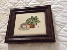African violet and a cup of tea cross stitch
