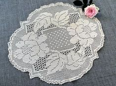 Crocheted Doily. Lace Doily. Filet Crochet Doily. Vintage Oval/Round Filet Crochet Doily. Ivory/Cream Colour Crocheted Oval Doily RBT2830 Measuring approximately 13 x 11.5 inch/33 x 29 cm. Weight: 24 g In great vintage (used) condition. Please viw photos carefully and ask any