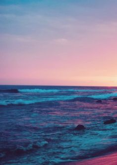 The ocean at sunset. The Ocean, Ocean Beach, Ocean Waves, Rainbow Beach, Ciel, Pretty Pictures, Beautiful Beaches, Beautiful World, Strand