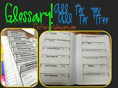Free glossary template for interactive notebooks