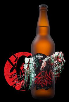 """""""Make it EVIL"""" – that was Driftwood's only request for their intense Son of the Morning strong golden ale. We decided to approach the label as if it were an album cover, drawing on old-school brutal death metal from the early to In order to graph… Label Design, Branding Design, Design Packaging, Packaging Ideas, Package Design, Son Of The Morning, Artisan Beer, Different Types Of Beer, Vases"""