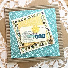 Happy Day Turquoise Layered Note Card, Thinking of You, Just Because, Birthday…