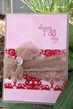 Stampin' Up! Wedding card with a twist. I love big bows and I can not lie. :)
