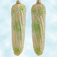 Radko Native Blend Corn Cob - Light Yellow and Green, Radko Ornaments, 1998,