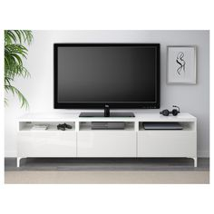BESTÅ TV bench with drawers - white/Selsviken high-gloss/white, drawer runner, soft-closing - IKEA Ikea Family, Family Room, Besta Tv Bank, Bench With Drawers, Large Drawers, Floating Shelves Kitchen, Glass Shelves, Wall Shelves, Drawer Runners
