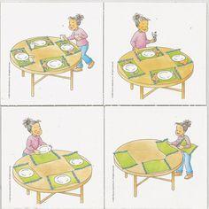 historyjka obrazkowa, nakrywanie do stołu