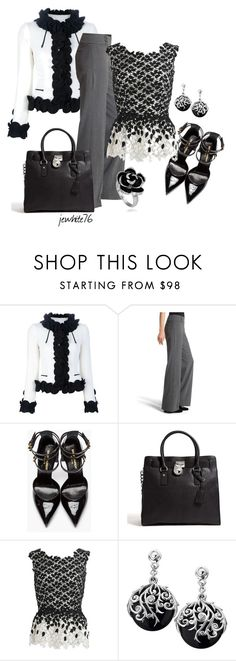 """""""Flower Sprinkle"""" by jewhite76 ❤ liked on Polyvore featuring Moschino, White House Black Market, Yves Saint Laurent, MICHAEL Michael Kors and Oscar de la Renta"""