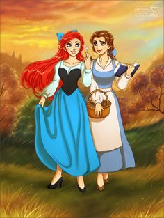 Ariel and Belle are best friends, just like Charlotte and Mommy!