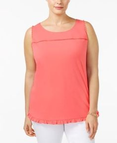 Ny Collection Plus Size Button-Back Top - Orange