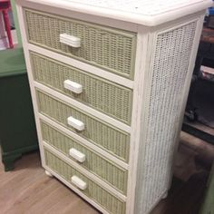 Wicker dresser painted with Old White and Versailles Annie Sloan Chalk Paint.