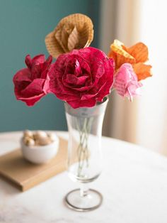 Paper flower bouquet from old book pages, idea from BHG