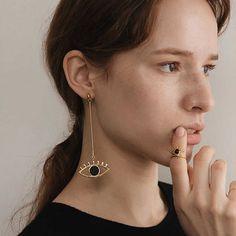 2017 New Asymmetric Charming Big Evil Eye Statement Dangle Earrings Super Long Earrings boucles d'oreilles #Affiliate
