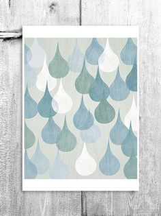 Abstract Rain Drops Wall Art Digital Print Home Decor by revigorer, £15.00
