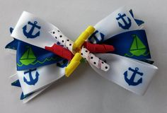 Anchors Nautical Stacked Bow, Sailor Navy Blue -Green-White Bow, Korker Bow Center Nautical Girls Bow - Free Shipping Promo! by BowsAndHairThings on Etsy