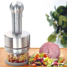 The Stainless Steel Chopper takes major culinary tasks and cuts them down to size. Its rotating internal blades make short work of dinner prep, and are great for evenly mixing and chopping ingredients for salsas, mirepoix, and more. Toy Kitchen, Kitchen Tools, Kitchen Gadgets, Kitchen Appliances, Kitchen Things, Kitchens, Kitchen Small, Kitchen Supplies, Small Appliances