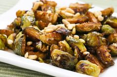 Roasted Brussels Sprouts Recipe with Balsamic, Parmesan, and Pine Nuts (Low-Carb, Gluten-Free) found on KalynsKitchen.com