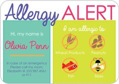 "Personalized Allergy Alert CardsInk Color: MulticolorCard Colors: MulticolorDimensions: 3.5"" x 2.5""Do you have a child with allergies? Help ..."