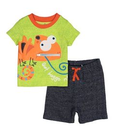 Look what I found on #zulily! Lime 'Quit Buggin Me' Lizard Crewneck Tee & Navy Shorts - Infant #zulilyfinds