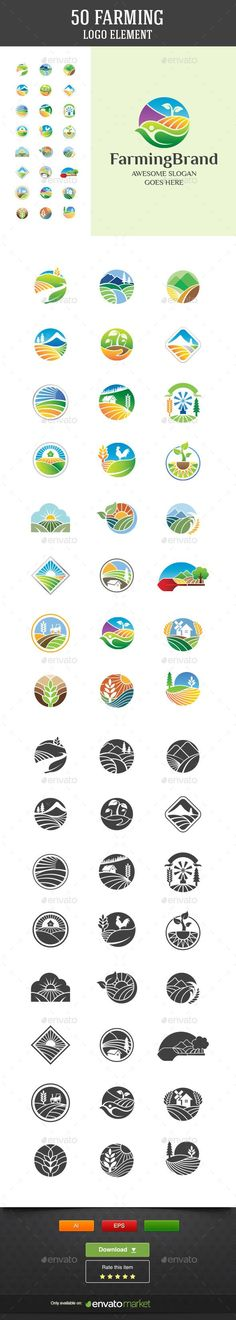 50 Farming Vector Logo Elements