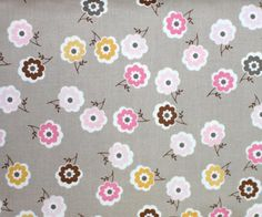 Daisy Cottage Gray Flower Fabric for Riley Blake by textilecloset
