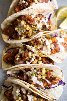 Southern Blackened Catfish Tacos with Fried Corn and Old Bay Aioli recipe from Cooking with Cocktail Rings || #tacotuesday #tacos