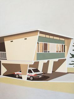 Drawing inspiration from project homes built for post-war European migrants in the and in Australia and America, Australian painter Eliza Gosse has. Australian Painters, House Illustration, Australian Homes, Googie, Mid Century House, Artist Painting, Contemporary Artists, Interior And Exterior, Oil On Canvas