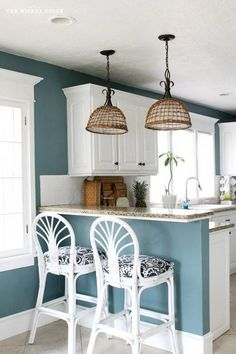 9 Calming Paint Colors Hi City Farmhouse friends! It's Emily from The Wicker House here and today I wanted to stop by and share our home's calming paint colors with you. The post 9 Calming Paint Colors appeared first on Architecture Diy. Paint For Kitchen Walls, Kitchen Paint Colors, Paint Walls, Blue Walls Kitchen, Kitchen Paint Schemes, Kitchen Ideas Color, Color Walls, Kitchens With Color, Home Paint Colors