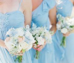 Bridesmaids, Spring, Summer, beach , blue, blues, bouquet, bouquets, bridesmaid, colors, decor, dresses, flower, flowers, light, pastel, wedd, wedding, chic