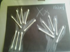 "Chalk hands on dark paper with q-tip ""bones"". Approved by Andrea Beaty, author of DOCTOR TED. #STEM"