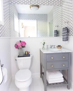 Small Bathroom Remodels Shower Stall Driven By Decor Our Small Guest Bathroom Makeover The Guest Bathrooms, Downstairs Bathroom, Bathroom Renos, Bathroom Renovations, Master Bathroom, Bathroom Gray, Bathroom Ideas, Small Bathroom Vanities, Small Bathroom Makeovers