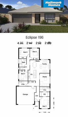 The Eclipse 196 has plenty of room for everyone. With four generous bedrooms, a large family/meals area plus separate media room – there is ample space for families, big or small. Designed to suit a narrow lot, this home is a smart choice.
