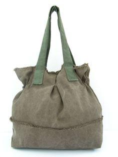 Brown tela Tote borsa grande tela borsa a tracolla di RuthKraus