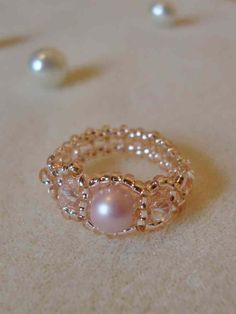 Three Bead ring, Pink pearl ring, Pink briolette ring, handmade ring