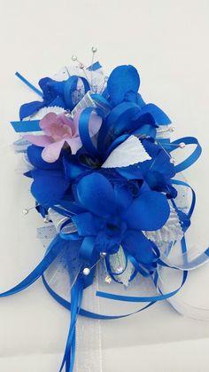 Royal Blue Orchid Corsage