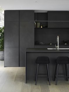 Seafarers by Riverlee — Luxury residences — Carr Kitchen Room Design, Modern Kitchen Design, Interior Design Kitchen, Black Kitchens, Luxury Kitchens, Home Kitchens, Black And Grey Kitchen, Engineered Timber Flooring, Interior Desing