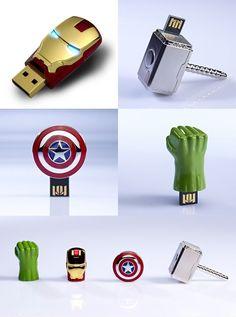 Avengers USB flash drives. I quite like the Captain America