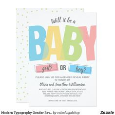 Modern Typography Gender Reveal Baby Shower Party