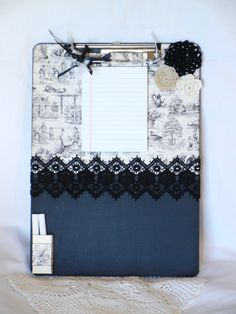 Message board  chalk board  clip board with black by avirgindesign, $20.00